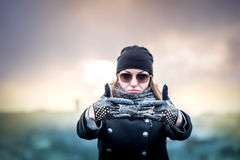 Girl on the top of high building Royalty Free Stock Images
