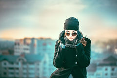 Girl on the top of high building Royalty Free Stock Photography