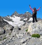 Girl on the top - Pennine Alps, Switzerland Royalty Free Stock Photos