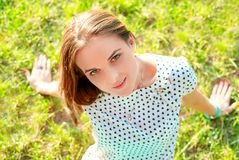 Girl top view Stock Image