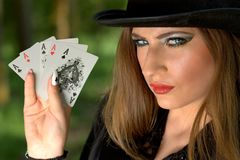 Girl, Topper, Playing Cards, Luck Stock Images