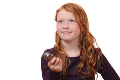 Girl with torch light. Portrait of a young girl with torch light on white background Royalty Free Stock Photography