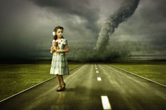 Girl tornado stock illustration