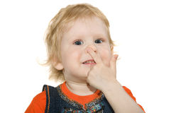 Girl touch nose Royalty Free Stock Photography