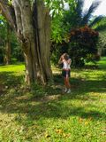 Girl touches a big tree in a park in jamaica Royalty Free Stock Photos