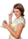 Girl touches a cactus Royalty Free Stock Photos