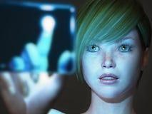 Girl touching blue screen stock image