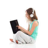 Girl touching digital tablet screen Stock Photo