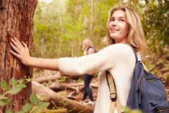Girl touching a tree in a forest, her mother in the background royalty free stock images