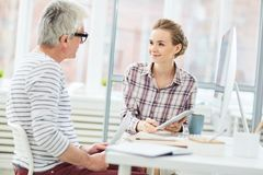 Talk with boss Stock Images