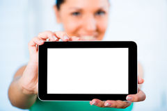 Girl with the TouchPad Stock Photos