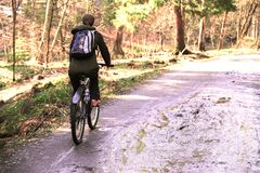 Girl tourist with a backpack riding a Bicycle on a forest road.  stock photos