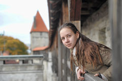Girl tourist on the fortress wall Stock Image