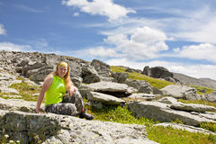 Girl-tourist has a rest Royalty Free Stock Images