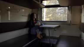 Girl tourist is looking out the train window. Alone girl tourist in empty train compartment is looking out the window. fast train stock video