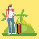 A girl tourist with luggage Stock Images