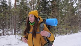 Girl tourist goes on a winter forest road with a backpack on her shoulders. stock footage