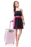 Girl tourist with suitcase. Travel and tourism Stock Photo