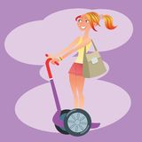 Girl tourist traveling on a scooter. Happy beautiful girl tourist rides on the scooter. Travel and vacation royalty free illustration