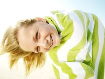 Girl with towel. Royalty Free Stock Images