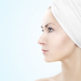 Girl with towel - beauty portrait Stock Images