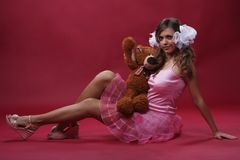 Girl with a toy Royalty Free Stock Photo
