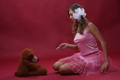 Girl with a toy Stock Photos