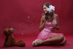 Girl with a toy Royalty Free Stock Image