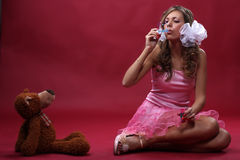 Girl with a toy Royalty Free Stock Photography