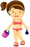 Girl with toy beach Royalty Free Stock Photo
