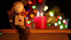Girl toy and candles. And Giftbox Celebration Newyear or Birthday or Valentine day concept stock video