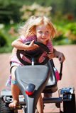 Girl with toy car outdoors Stock Photography