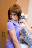 Girl with toy-cat Royalty Free Stock Image