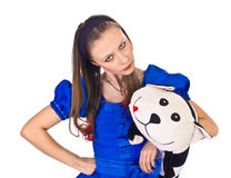 The girl with toy cat. The girl in blue dress with toy cat isolated on white Stock Images