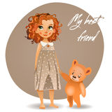 Girl and toy. Cute girl with curly red hairs with teddy bear vector illustration