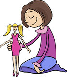 Girl with toy doll cartoon Stock Photo