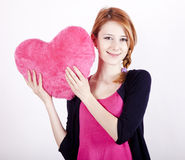 Girl with toy heart. Beautiful red-haired girl with toy heart. Photo for st. Valentine post card. Photo #7 Royalty Free Stock Photo