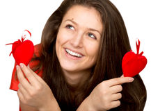 Girl with toy hearts Stock Photography