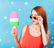 Girl with toy ice cream Stock Images