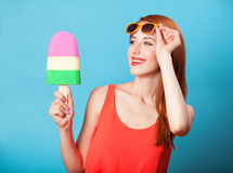 Girl with toy ice cream Royalty Free Stock Photo