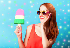 Girl with toy ice cream Royalty Free Stock Image