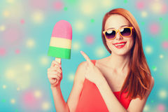 Girl with toy ice cream Royalty Free Stock Photography