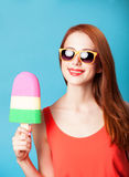 Girl with toy ice cream Royalty Free Stock Photos