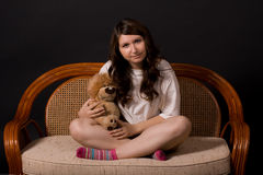 Girl with toy-lion Stock Photography
