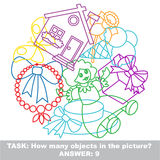 Girl toy mishmash colorful set in vector. Royalty Free Stock Image