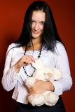 Girl with a toy-mouse stock photography