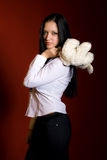 Girl with a toy-mouse stock images