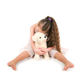 The girl with a toy puppy Royalty Free Stock Photography