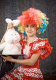 Girl with toy rabbit Royalty Free Stock Photo