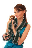 Girl with a toy tiger cub. Royalty Free Stock Photo